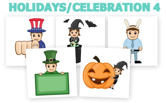 50+ Holidays Cartoons Concepts by TrueMitra Designs on @creativemarket