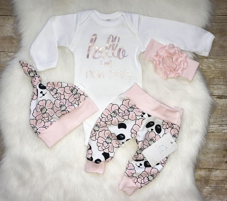 Organic Newborn Girl Outfit Hello World I am New Here Baby Girl Coming Home Outfit Floral Outfit Pink Panda Outfit Euro Print Rose vinyl by LLPreciousCreations on Etsy https://www.etsy.com/listing/561889195/organic-newborn-girl-outfit-hello-world
