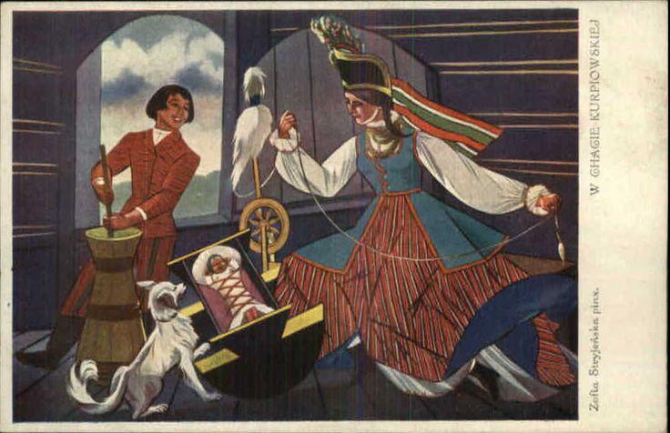 Polish ART DECO Woman Spinning Wheel Zofia Stryjenska c1910 Postcard