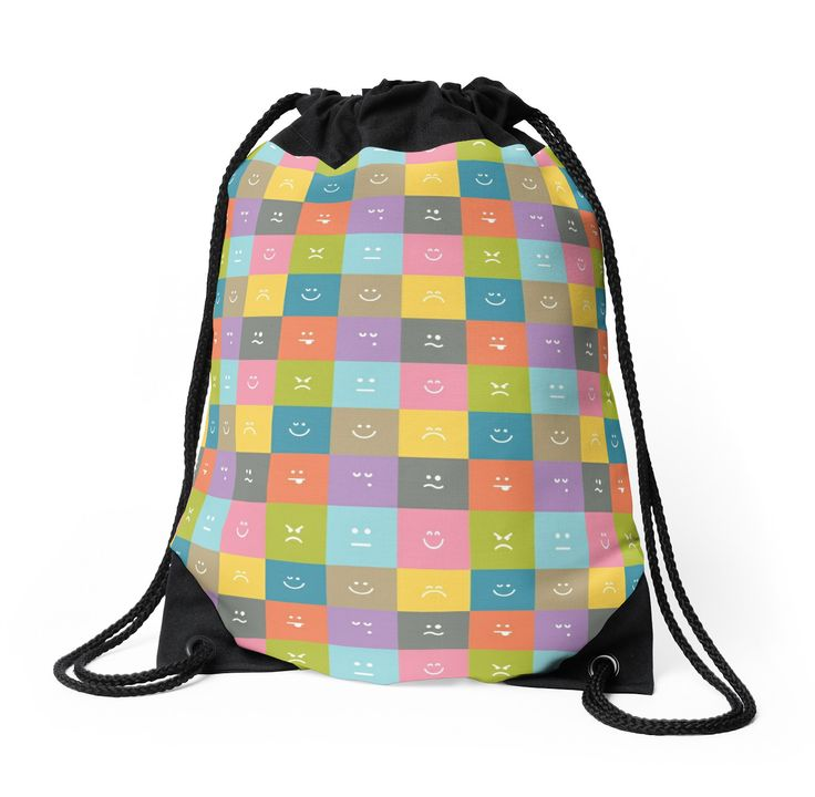 Emoji Emoticon Pattern Illustration by Gordon White | Emoji Drawstring Bag Available @redbubble --------------------------- #redbubble #emoji #emoticon #smiley #faces #cute #addorable #pattern #drawstring #bag