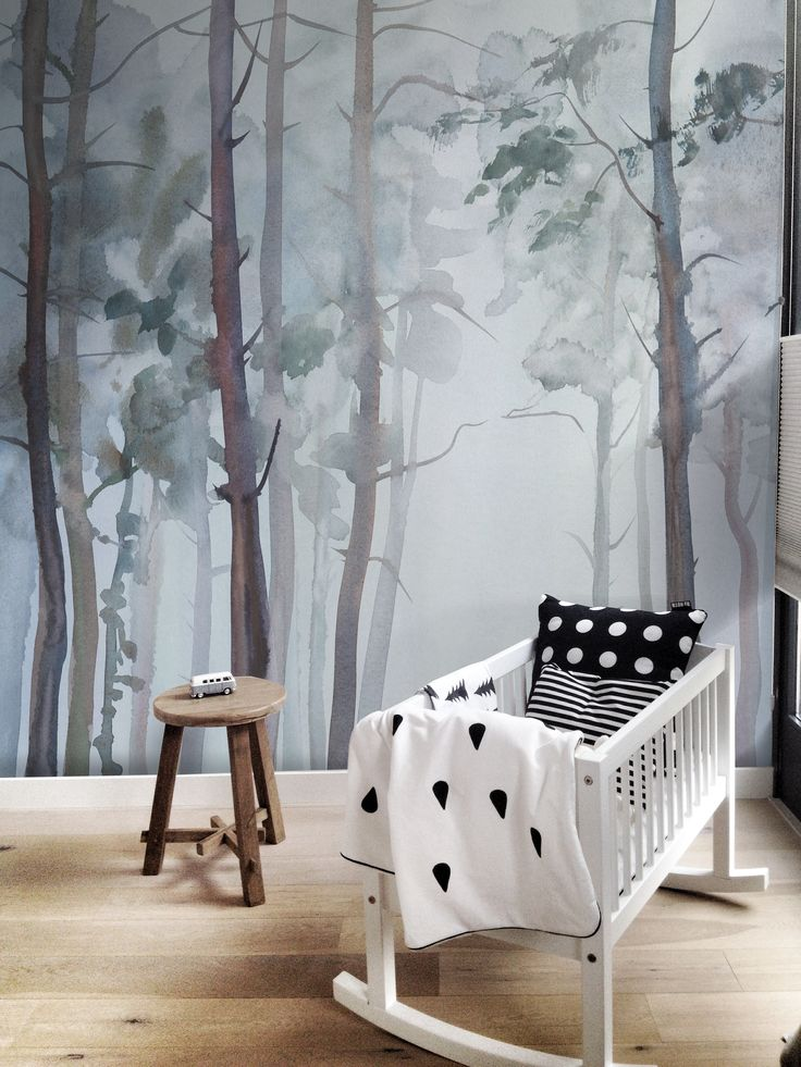 dreamy forest removable wallpaper vintage nursery nature inspired and nursery. Black Bedroom Furniture Sets. Home Design Ideas