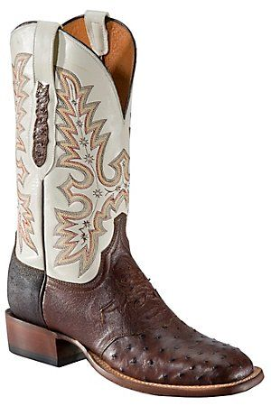 For nick  Lucchese Men's Brown Full Quill Ostrich w/ Ivory Top Dbl Wlt Square Toe Western Boot