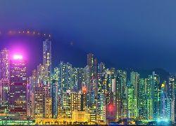 Hong, Kong, Nocą, Drapacze, Chmur