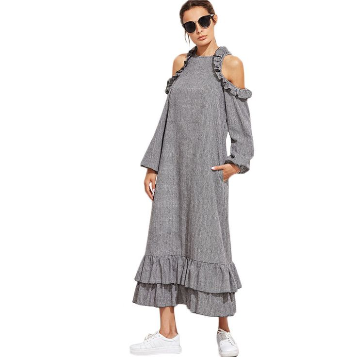 SheIn Women Dresses Autumn Casual Dress Black and White Checkered Cold Shoulder Long Sleeve Ruffle Long Dress