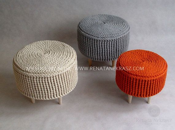 PROMOTION. Crochet pouf crochet footstool round by RNArtDesign