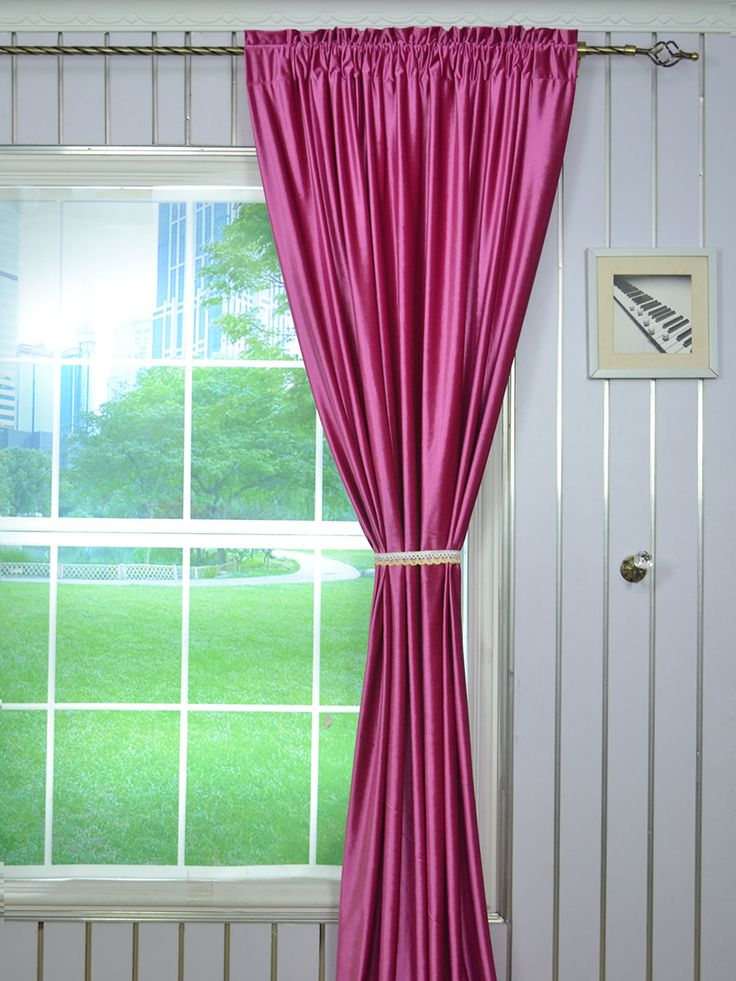 Hotham Pink Red and Purple Plain Ready Made Velvet Curtains