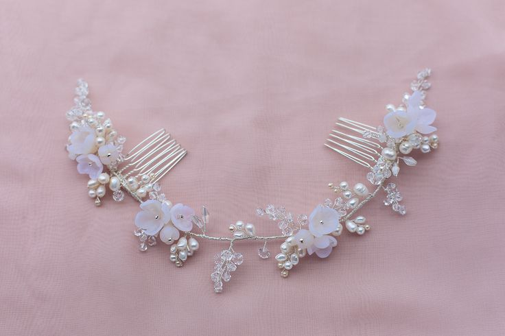 WHITE ROSE floral inspired hairvine by ETHEREAL BRIDAL ACCESSORIES