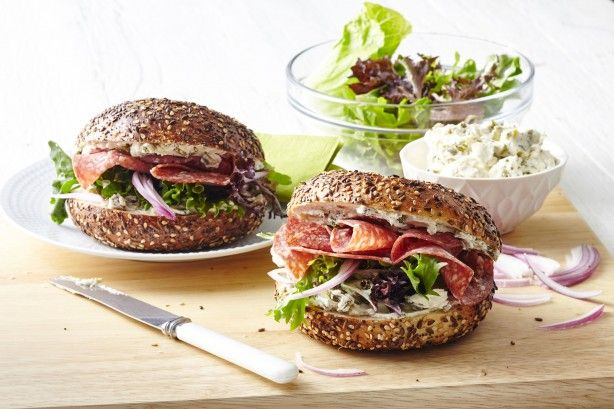 Salami and cream cheese bagel sandwich Keep work lunches interesting with this very tasty salami and cream cheese bagel.