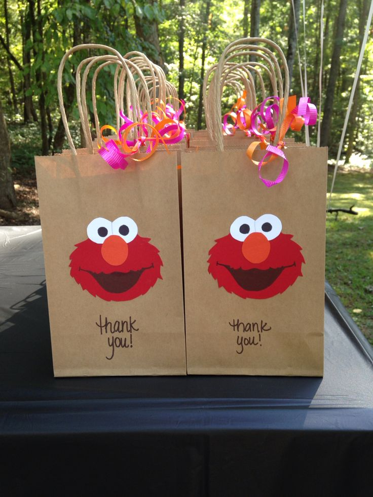Elmo goody bags for girl birthday.