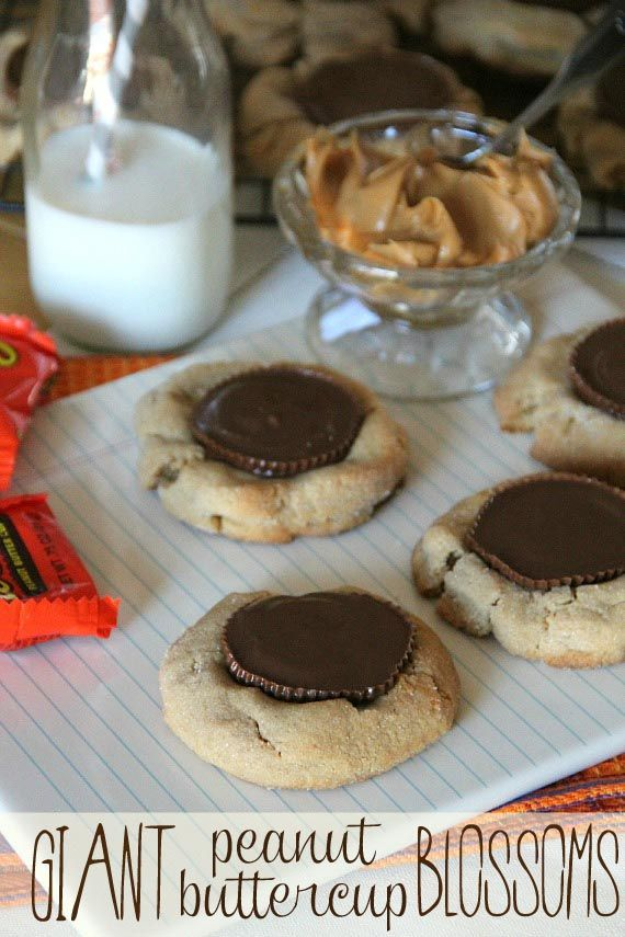 """Giant Peanut Butter Blossoms!  A 4"""" peanut butter cookie with a full sized Reese's!: Blossoms Cookies, Cups Blossoms, Giant Peanut, Peanut Buttercup, Cups Cookies, Peanut Butter Blossoms, Cookiesandcups Com, Peanut Butter Cups, Buttercup Blossoms"""