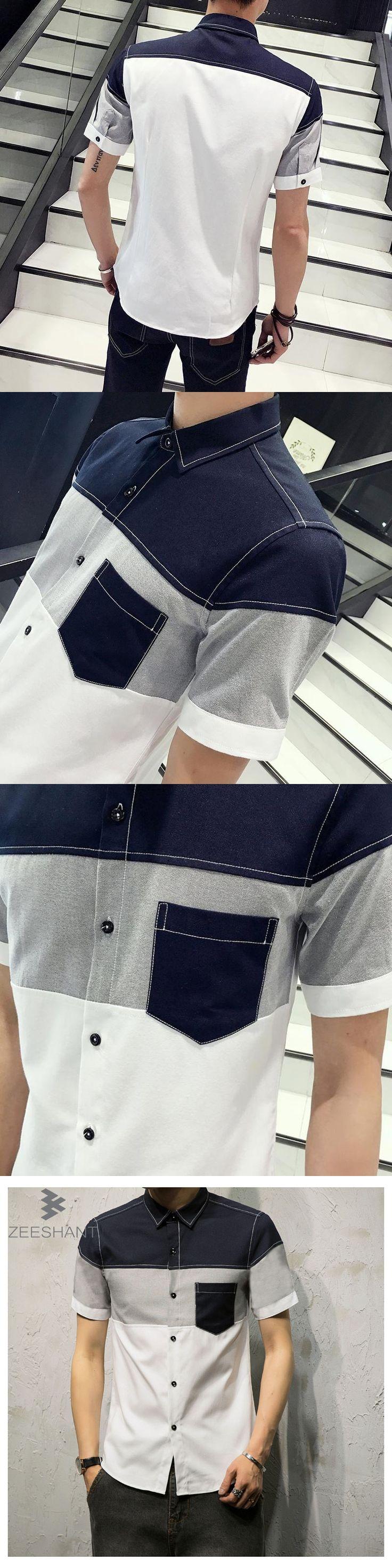 ZEESHANT 2017 Fashion New Mens Dress Shirts Patchwork XXXXXL Men Short Sleeve Shirt Camisa Masculina in Men's Tuxedo Shirts