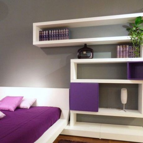 Furniture : White cubic bookshelf design for beautiful bedroom with unusual shaped bookshelf and white bed combine purple bed sheet also pillow plus grey wall color - Wooden Bookshelf  with Modern and Unique style for Interior Home Design