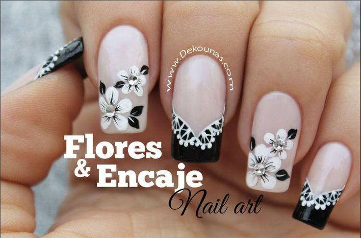 Decoracion de uñas flores y encaje