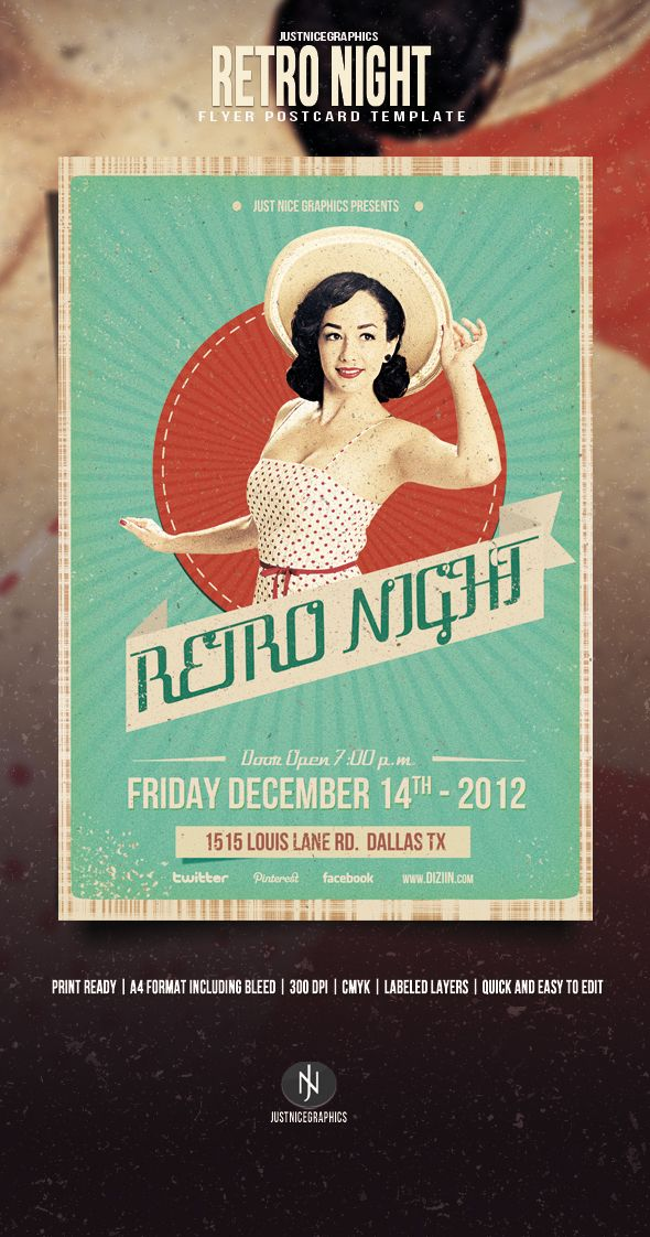 Best Retro Inspired Flyer Images On   Flyers Flyer