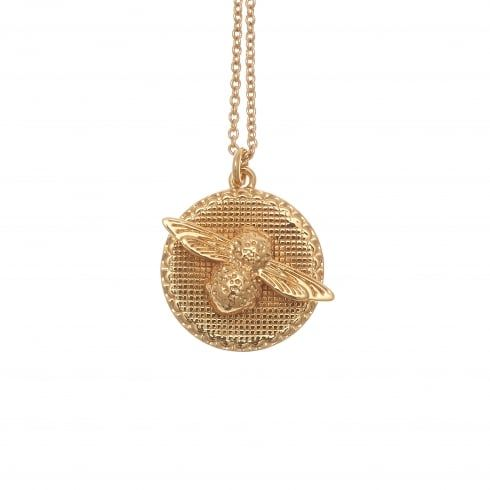 Moulded Bee Disc Necklace Gold | Olivia Burton London