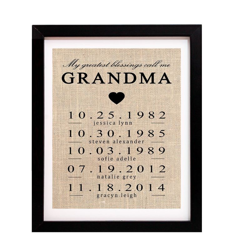 My Greatest Blessings Call Me Grandma, Burlap Print Customized With Grandma Name and Grandchildren Birthdates. Grandma will love this print, personalized with the names and birth dates of her grandchildren. Perfect for Mother's Day, Grandma's Birthday, or any day! GRANDMA can be changed to any other name. Print will be formatted just as picture. Burlap prints measure 8x10 inches and come ready to frame. Can be used in an 8x10 frame or also fit nicely in an 11x14 frame with an 8x10 mat....