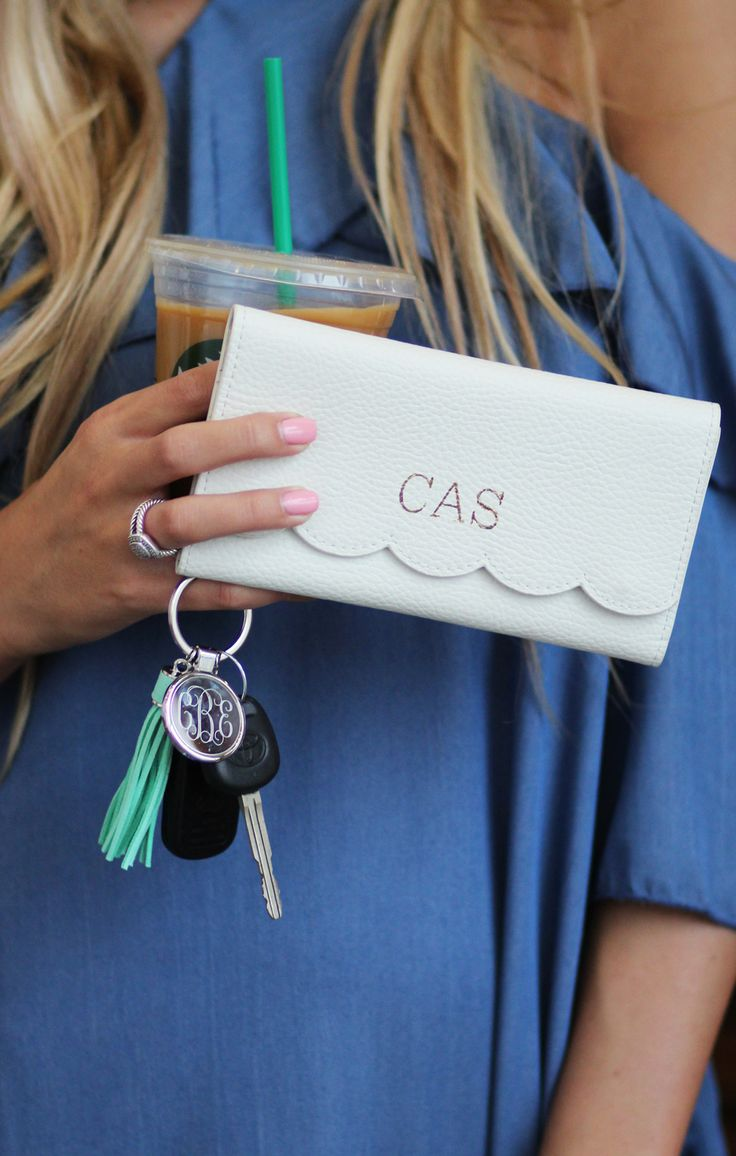 add some sweet scallops to your everyday accessory!! Shop this monogrammed scalloped wallet!