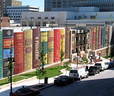 Kansas City Public Library parking garage. The 22 book titles were chosen