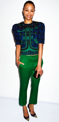 06/14/12: With its baroque embellishment and bold hue, we can't help but envy #ZoeSaldana's green ensemble! #lookoftheday http://www.instyle.com/instyle/celebrities/lotdpopup/0,,20603969_21173604,00.htmlCrop Pants, Vuitton Tops, Green Ensemble, Celeb Style, Louis Vuitton, Zoesaldana, Style Icons, Zoe Saldana, Saldana Style