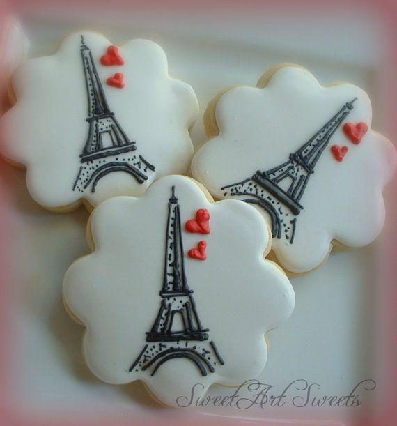 Paris cookies - Eiffel tower cookies - 1 dozen - Valentine's day on Etsy, $42.00