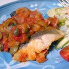 Sea Bass, Cuban Style - it's incredible.  Also great with tilapia - just cook the fish less time - only about 6 minutes.  Serve over rice or risotto.