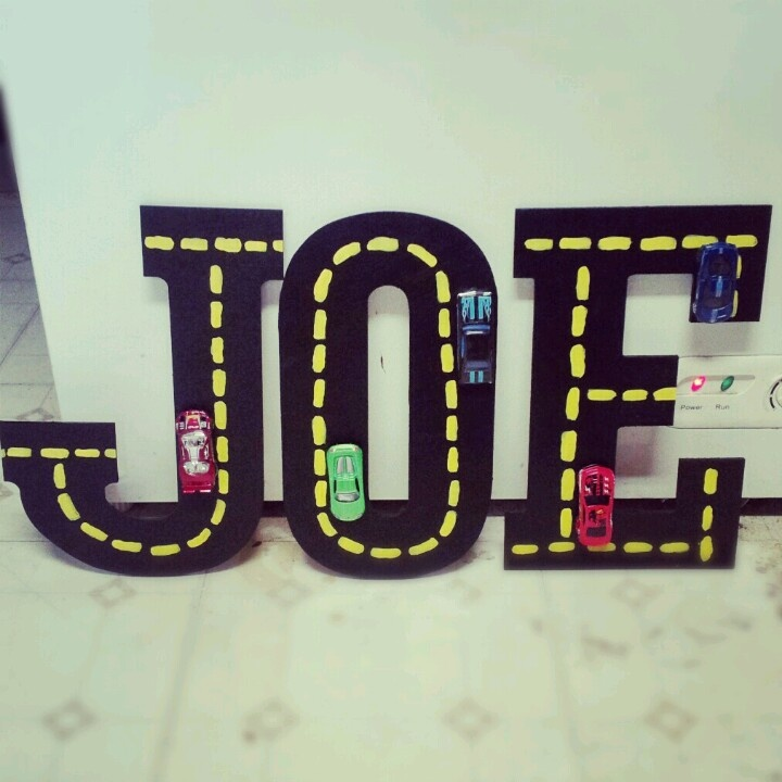something to hang up in joes race car room made with wooden letters acrylic