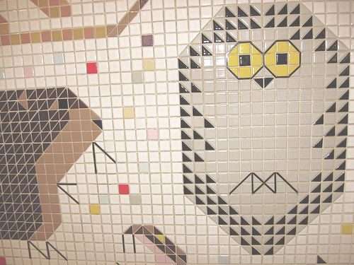 Owl detail from charley harper tile mural at the john weld for Charley harper mural