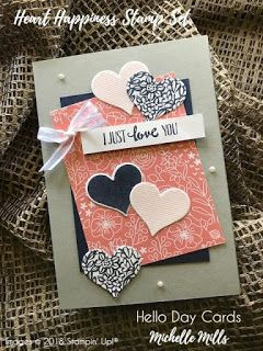 Michelle Mills - Independent Stampin' Up! Demonstrator Australia. FB: Hello Day Cards. I Just Love You card CASE'd from the Stampin' Success Demonstrator Magazine.  Using the Sweet Soiree M & M Card Pack & Heart Happiness Stamp set in NIght of Navy & Powder Pink inks. All items are Stampin' Up!®    #eatsleepstamprepeat #gogetstamped  #stampinup #stamping #makeacardsendacard #loveitchopit #worldhelloday #hello #helloday #hellodaycards #love #loveyou #case #cardpack #memories&more #coordinate