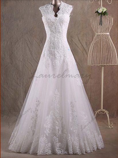 Sexy ivory lace wedding dress Aline wedding dresses by Laurelmary, $369.99