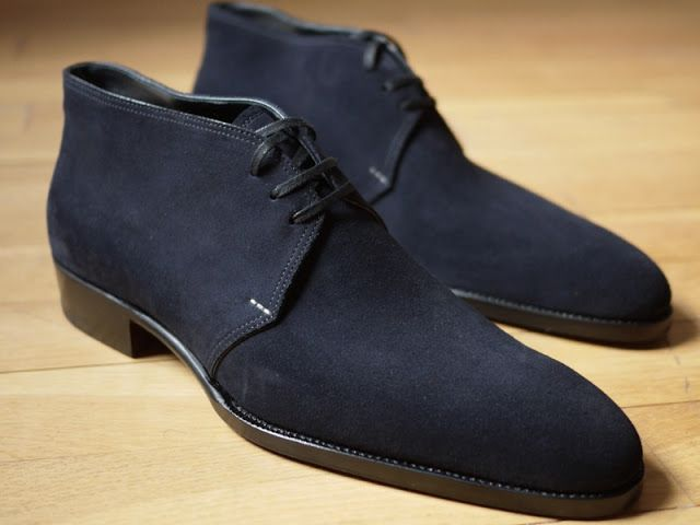 Suede boots are so good. Saint Crispin Blue Suede Chukka Boots