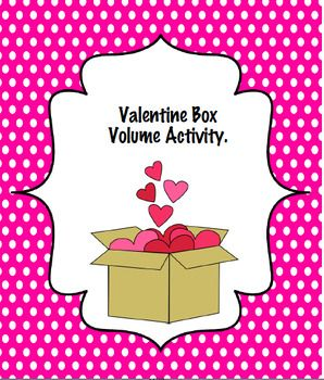 I use this activity to help justify creating Valentine holders with my students. Each student brings in an empty shoe or tissue box. We use this activity to find the area, perimeter, and volume of the box. This sheet is great for introducing the concept of volume, while reviewing area and perimeter formulas.