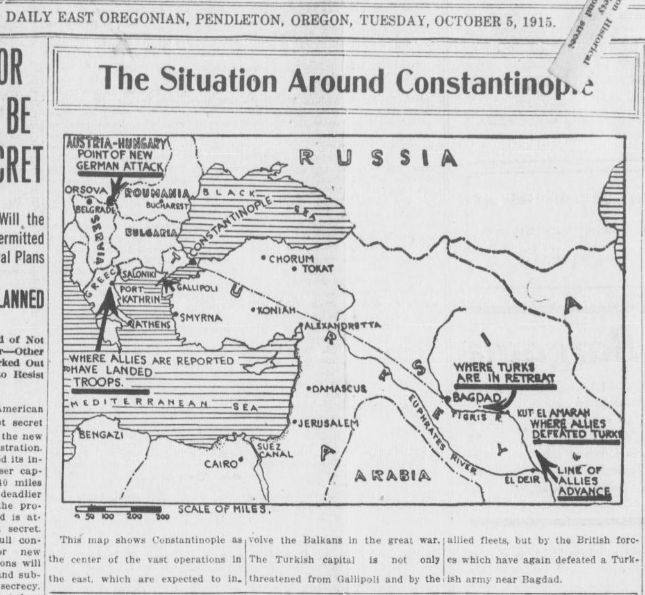 "WWI covered live on Twitter: ""Oct 5 1915 Map charts events in the Ottoman Empire and new Balkan war theatre http://t.co/afwVjXKw2O #ww1centenary http://t.co/SPvVpzi3oO"""