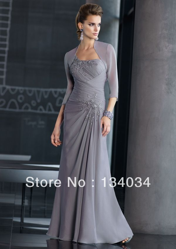 Wholesale Grey One shoulder Long Appliques Evening Dress with Jacket Mother of the Bride Dress Special Occasions $128.00