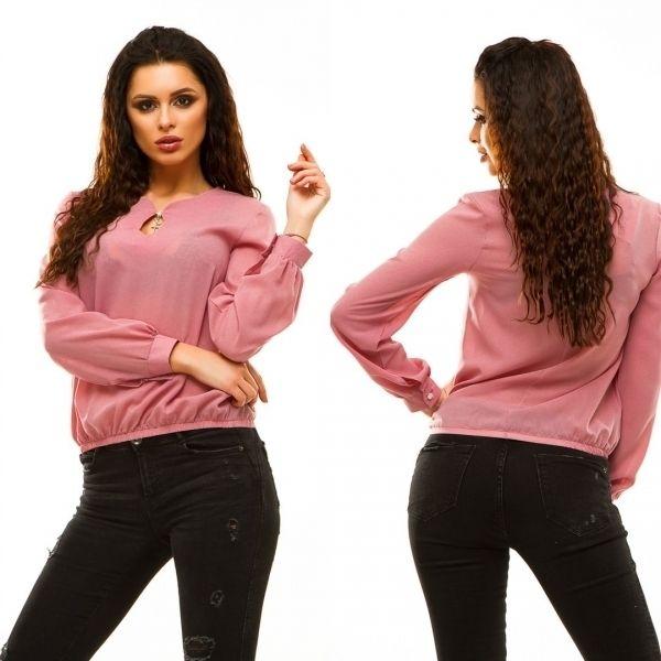 Женская блуза из креп-шифона низ на резинке длинные рукава с манжетами на пуговицах пудра