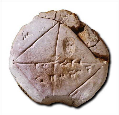 YBC 7289 is a small clay disc containing a rough sketch of a square and its diagonals. Across one of the diagonals is scrawled 1,24,51,10 — a sexagesimal number that corresponds to the decimal number 1.4142129, an approximation of the square root of 2. Below is the answer to the problem of calculating the diagonal of a square whose sides are 0.5 units. This bears on the issue of whether the Babylonians had discovered Pythagoras's theorem some 1,300 years before Pythagoras did.