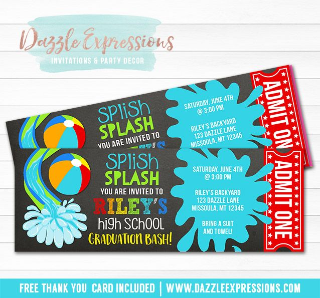 Printable Pool Party Chalkboard Ticket Graduation Party ...