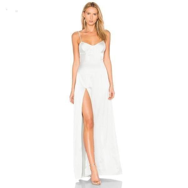 ... dress casual Suppliers  Haoduoyi 2018 Floor-length Summer Dresses  Casual Satin Dress Slit Spaghetti Strap Elegant Maxi Long Party Dresses  Women Vestidos be6777146
