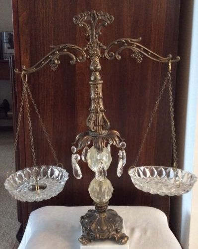 Vintage Ornate Balance Scales Of Justice Brass With