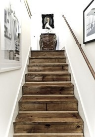 Recycled Pallets against white walls stairs