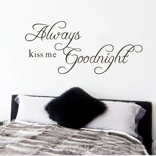 """Free Shipping 22.8"""" x 10.2""""Always Kiss Me Goodnight DIY Removable Art Vinyl Quote Wall Sticker Decal Mural Home decoration www.peoplebazar.net    #peoplebazar"""