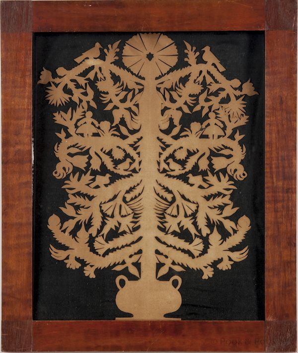 Pennsylvania paper cutout, ca. 1835, in the form of a tree rising from a pot, the branches graced with birds, tulips and young children, ret...