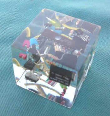 resin paperweight | Recycled Computer Parts Resin Cube Paperweight from S J Crafts