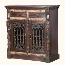 Hand Carved Rustic Reclaimed Wood Traditional Storage Cabinet