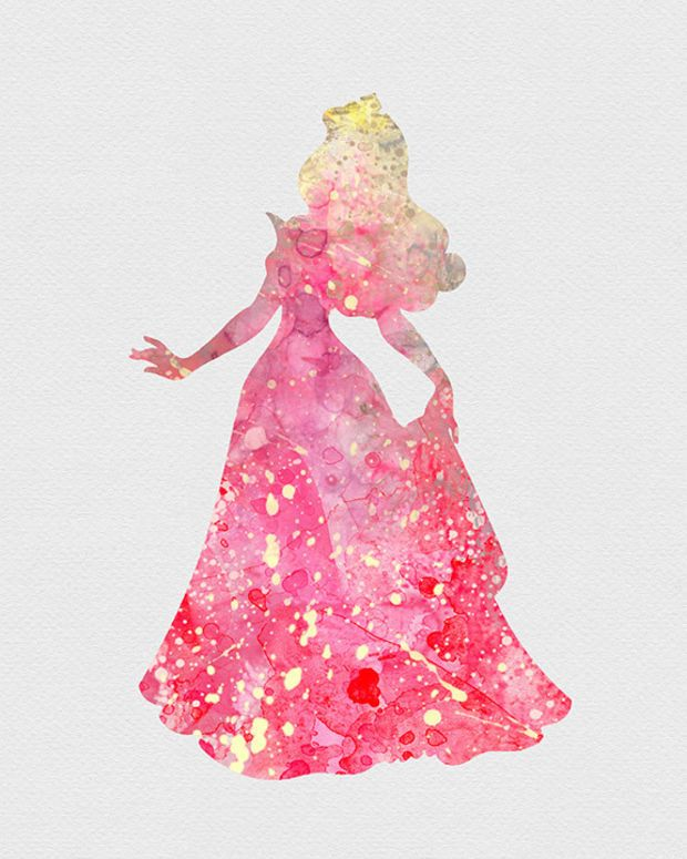 Princess Aurora Sleeping Beauty Watercolor Art