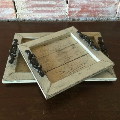 Decorative Distressed Wooden Trays - Amarillo- I could make these very easily