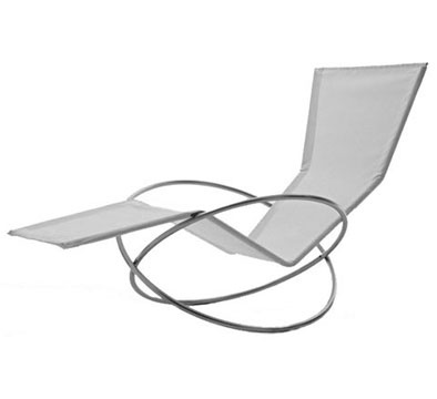 """Loop Lounger from MoMa Store is something totally different. It's collapsible, which is always handy, but it doesn't look like your average folding chair, which is nice also. Made of rust-proof marine grade stainless steel, this indoor/outdoor chaise lounge chair has a white seat made of white plasticized mesh that's easy to clean, and the loopy open design allows for comfortable rocking to help you relax. Made in Italy it measures 34"""" x 28"""" x 55"""", $675"""