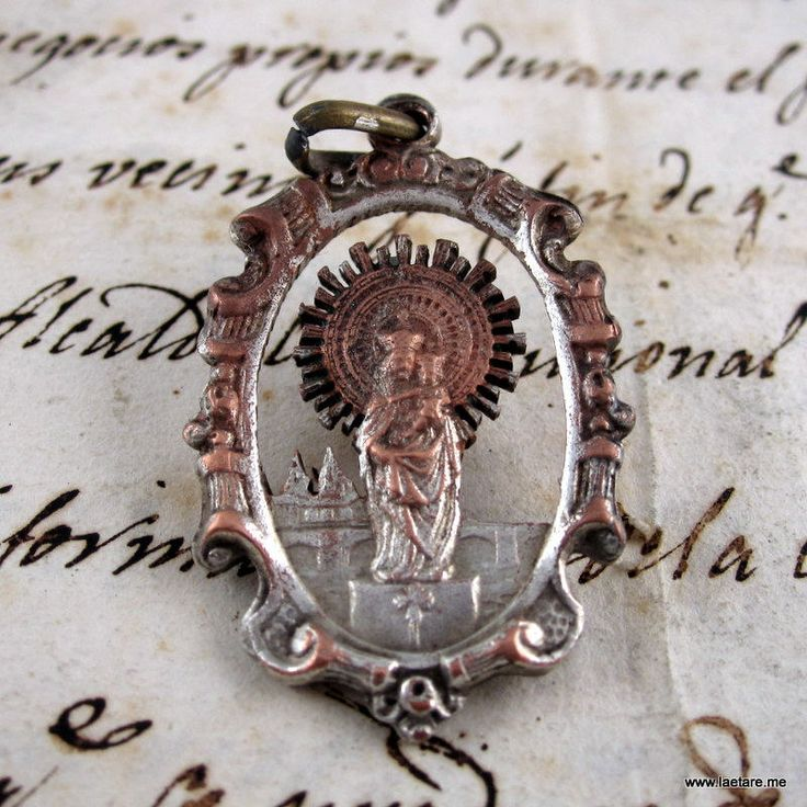 Our Lady of The Pillar Wonderful Openwork Medal - Cooper and Silver - Catholic Religious - Spain (Nuestra Señora del Pilar)