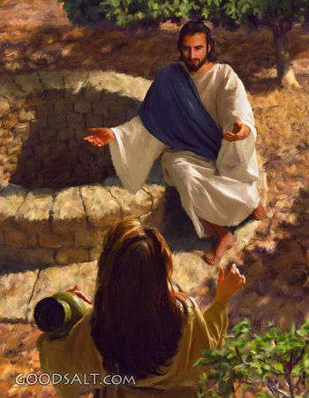 Jesus talking to the woman at the well about her need to have a relationship with Him.