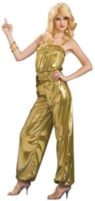 Gold Diva 70s Disco Jumpsuit Dance Retro Sexy Womens Halloween Costume | eBay