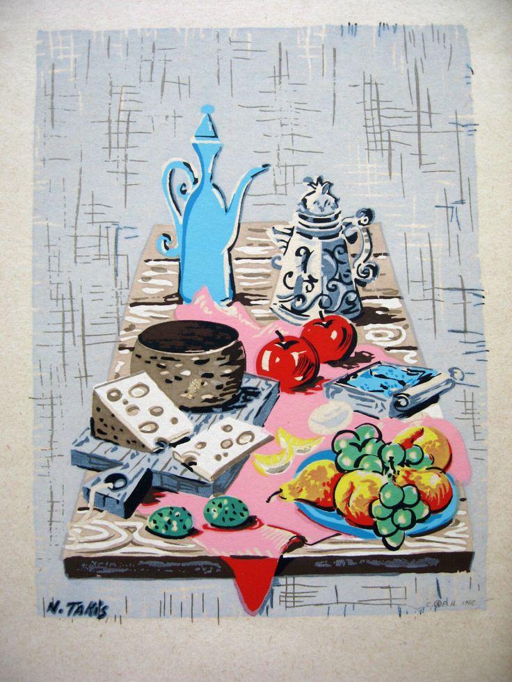Vintage Nicholas Takis Still Life III Reproduction Litho Print Mid Century Americana Kitsch by DefinedThruDesign on Etsy https://www.etsy.com/listing/160314859/vintage-nicholas-takis-still-life-iii
